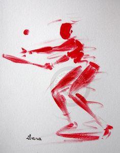 tennis-dessin-calligraphique-realise-en-1-minute-par-ibara.jpg - Pintura ©2015 por IBARA -                                                                        Expresionismo, Papel, Caligrafía, Deportes, les hommes rouges, ibara, weonea, sport et art, open de tennis, roland garros peinture