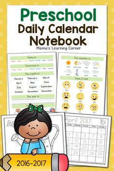 Preschool Calendar Notebook for 2016-2017 - days of the week, months of the year, weather, shapes, and more!