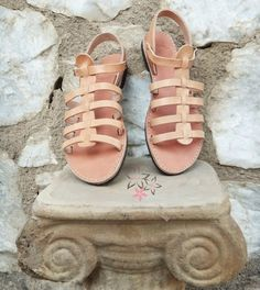 Gladiator Stripe Sandals / Genuine Greek High Quality by Twininas