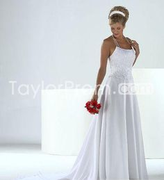 Classic Sheath/Column Square Halter Floor-length Embroidery Wedding Dresses