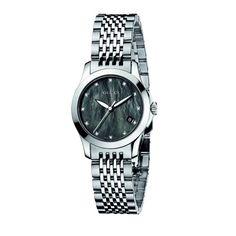 #Gucci Womens YA126505 G-Timeless Diamond Marker Black MOP Dial Watch