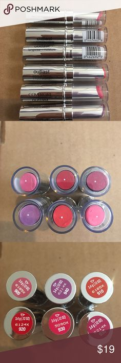 Covergirl outlast lipstick bundle 6 different colors all new.. retail 6$ each Makeup Lipstick