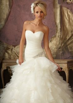 Mori Lee Bridal FALL 2012 Collection: 1856 - Diamante Applique on Ruffled Organza and Tulle