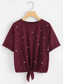 Casual Plain Regular Fit Round Neck Short Sleeve Roll Up Sleeve Purple Regular Length Pearl Embellished Knot Front Tee - Teen Fashion Outfits, Girl Fashion, Girl Outfits, Fashion Dresses, Fashion Black, Fashion Ideas, Casual Dresses, Casual Outfits, Shirt Bluse