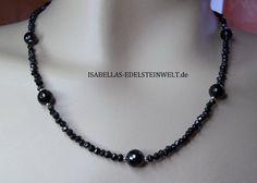 ♥♥ EDLES COLLIER AUS SCHWARZEN SPINELL UND TURMALIN EDELSTEINEN ♥♥  Diese wundervollen Edelsteine zusammen in einer prachtvollen Halskette vereint f