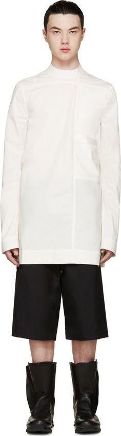 Rick Owens Ivory Poplin Stand Collar Shirt