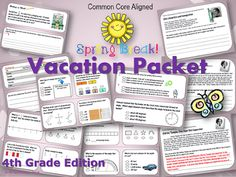 MrTechnology on TpT!: 4th Grade Spring Break Vacation Packet {CCSS Align...