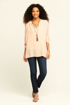 love tunics with skinny jeans and cool sandals