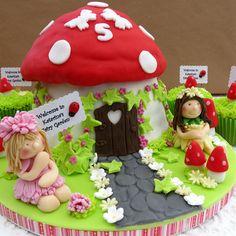 Mushroom fairy house cake