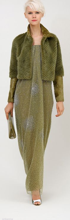 Love the olive color.  Dennis Basso Spring 2014