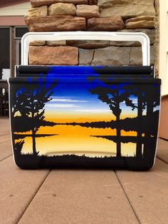 Painted cooler idea: bright lake sunset and tree silhouettes.                                                                                                                                                                                 More