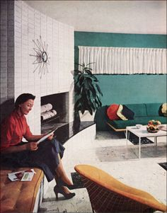 1957 Mid Century Living Room - white walls with jade accent wall?
