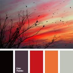 Beautiful colors of the contrast autumn palette. Red and black stir up passion, while plum, grey and soft orange hold it back and balance the entire composition. The palette will be good for autumn clothing items, as well as interior decoration.