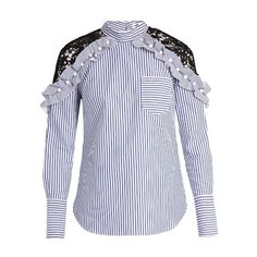 Self-portrait Lace-shoulder striped cotton top (4 565 ZAR) ❤ liked on Polyvore featuring tops, blue stripe, blue ruffle top, stripe top, floral print tops, floral tops and lace ruffle top