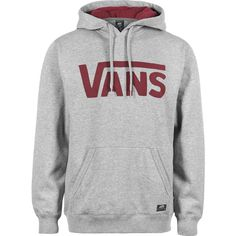 Vans Vans Classic Hoodie grau rot ($77) ❤ liked on Polyvore featuring tops, hoodies, jackets, sweaters, vans hoodie, hooded pullover, vans hoodies, hooded sweatshirt and sweatshirts hoodies