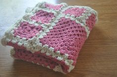 Baby Girl Blanket. Handmade Crochet Granny square Baby Blanket.  Ready to ship.