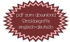 Strickbegriffe englisch-deutsch | Millefila