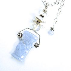 """NATURAL Blue Chalcedony Necklace Sterling Chain by silvermoonstars  23""""Long, 3.6 mm wide Sterling chain. OOAK  $130.00"""