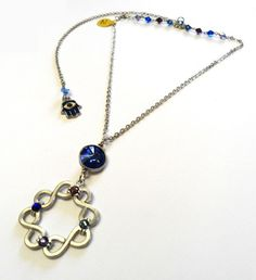 Infinity Of Protection from Bad Spirits Charm Necklace Blue and Purple