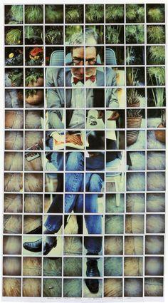 David Hockney - Nicholas Wilder Studying Picasso, 1982 composite polaroid, 48 x 26 in. David Hockney Photography, Art Photography, Montage Photography, Digital Photography, Wedding Photography, Photomontage, David Hockney Joiners, Illustration Arte, Andy Warhol