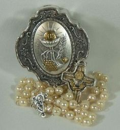 Communion Rosary Beads With Case Blessed Mother Simulated Pearl Metal Italy First Veilscommunion Giftsholy