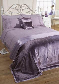 Diamonte Scallop Duvet Cover Set Mauve £24.50   BEDDING   Duvet Covers  Factory Shop Cornwall