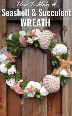 Seashells & Succulents Wreath Craft How To - make your own trendy shell and succulent wreath with this tutorial!