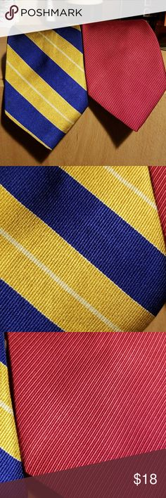 Nautica & Izod  preppy colors!! Bundle of 2 ties, gold &navy,  deep red/maroon.  Gently worn  by a successful Grad student!  Smoke free... wants to hang out with another  😉 Izod & Nautica Accessories Ties