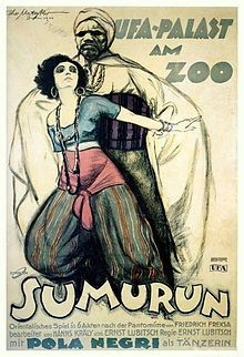 Theatrical poster for the 1920 German silent film Sumurun (aka One Arabian Night)  starring Pola Negri and directed by Ernst Lubitsch.