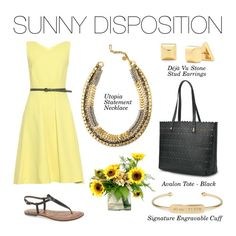 Stella & Dot Sunny Disposition ~ Brighten up your day with the versatile new Utopia Statement Necklace, Black Avalon Tote, Deja Vu Stone Earrings, and Gold Engravable Bar Cuff love this look www.stelladot.com/rmccoy