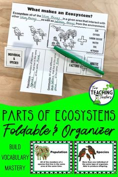 Use this foldable for teaching ecosystem vocabulary. Great for interactive notebooks or blown up as a poster size anchor chart. Includes foldable, graphic organizer activities, and PowerPoint notes. 5th Grade Science, Science Student, Elementary Science, Teaching Science, Science Activities, Science Lessons, Teaching Tips, Science Fun, Science Ideas