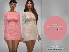 Simple lace short dress with long sleeve  Found in TSR Category 'Sims 4 Female Everyday'