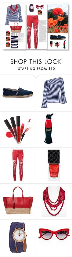 """Red denim"" by fernandaalmeida-1 on Polyvore featuring TOMS, Alima, Moschino, R13, Gucci, BaubleBar, Nixon, Dolce&Gabbana and Balmain"