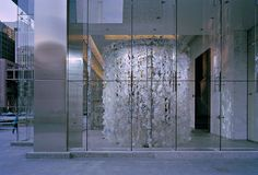 Waterfall Horseshoe, 2011, recycled plastic, monofilament, 19 x 18 x 17 feet (Bay Adelaide Centre, Toronto)