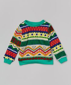 Look at this #zulilyfind! Green & Yellow Tribal Sweatshirt - Infant, Toddler & Kids by Leighton Alexander #zulilyfinds