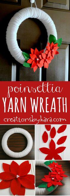 Poinsettia Yarn Christmas Wreath tutorial - a beautiful Christmas wreath for your door or walls!