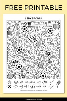 Fun I spy sports printable game for kids. You can download this free kid's activity for free on my blog. Find all the balls, bats, rackets, ice skates, wights, and more! #freeprintableactivityforkids #printableispy #sportsispy #sportsprintable Sports Games For Kids, Sports Activities For Kids, Summer Camp Activities, First Day Activities, Card Games For Kids, Sports 5, Creative Activities For Kids, Memory Games For Kids, Classroom Activities