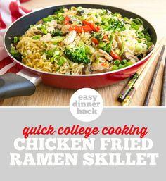 Easy Dinner Ramen Hack! Chicken Fried Noodle Skillet