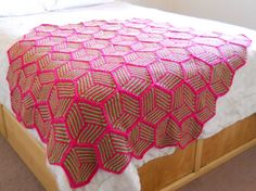 Knitted hexagon Illusion Cube Blanket. Pattern via Ravelry http://www.ravelry.com/patterns/library/illusion-cube-blanket