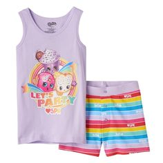 """Girls 4-10 Shopkins D'Lish Donut, Creamy Cookie Cupcake & Fairy Crumbs """"Let's Party"""" Tank Top & Shorts Pajama Set, Size: 8, Purple"""
