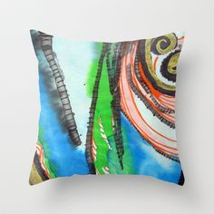 Blue Orange Ghoul Throw Pillow by Pajaritaflora -  A spirited flow of the brush. Splat, stroke and fine line. Ink on rice paper. Blue, orange, black, white.