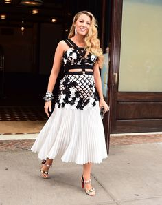 Blake Lively visiting The Tonight Show in a black and white floral beaded Emanuel Ungaro dress and Christian Louboutin bedazzled heels.