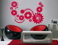 Cogwheels Wall Decal, Get this wonderful wall tattoo COGWHEELS in one of thirty beautiful colors.