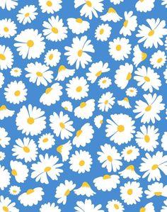 'Pop Daisy' Wallpaper by Wallshoppe - Cerulean