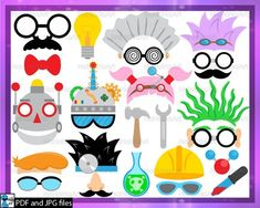 Silhouette Clip Art, Art Clipart, Photo Booth Props, Digital Stamps, Sell On Etsy, Scientists, Engineering, Stem Science, Science Party