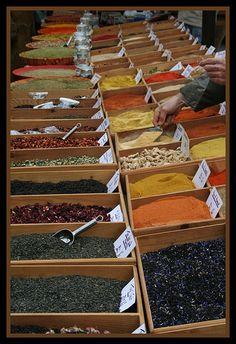At The Market - Spices Of Provence - France France O, Provence France, South Of France, Provinces De France, Spices And Herbs, Good Find, French Food, Store Design, Farmers Market