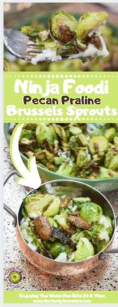 This recipe for Ninja Foodi Praline Pecan Brussels Sprouts is a more sophisticated take on Brussels sprouts. The addition of goat cheese, honey, and fancy praline pecans elevates the flavors and the result is fantastic!! #BrusselsSprouts #NinjaFoodi #NinjaFoodiRecipes #NinjaFoodiBrusselsSprouts Quick Healthy Meals, Healthy Dessert Recipes, Breakfast Recipes, Easy Meals, Praline Pecans, Pecan Pralines, Fried Goat Cheese, Breakfast Lunch Dinner, First Bite