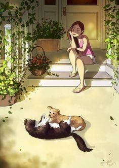 Living With Dogs, Dog Illustration, Girl And Dog, Colorful Paintings, Fantastic Art, Anime Art Girl, Girl Cartoon, Cute Art, Cool Drawings