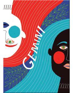 Gemini astrological sign Magnet measures x Zodiac Symbols, Zodiac Art, Zodiac Signs, Gemini Art, Gemini Zodiac, Gemini Woman, Lisa Congdon, Colorful Paintings, Aesthetic Art