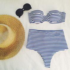 high waist blue and white stripe bikini